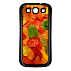 Colorful Fall Leaves Samsung Galaxy S3 Back Case (black) by AnjaniArt