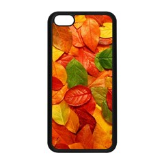 Colorful Fall Leaves Apple Iphone 5c Seamless Case (black) by AnjaniArt