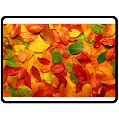 Colorful Fall Leaves Double Sided Fleece Blanket (large)  by AnjaniArt