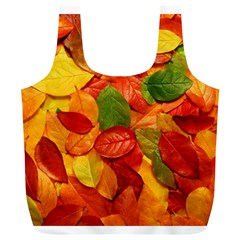 Colorful Fall Leaves Full Print Recycle Bags (l)  by AnjaniArt