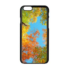 Colorful Leaves Sky Apple Iphone 6/6s Black Enamel Case by AnjaniArt