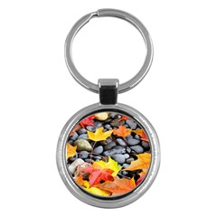 Colorful Leaves Stones Key Chains (round)  by AnjaniArt