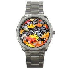 Colorful Leaves Stones Sport Metal Watch by AnjaniArt