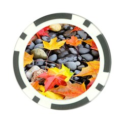 Colorful Leaves Stones Poker Chip Card Guards by AnjaniArt