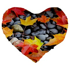 Colorful Leaves Stones Large 19  Premium Heart Shape Cushions by AnjaniArt