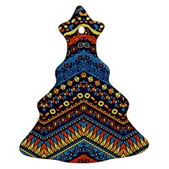 Cute Hand Drawn Ethnic Pattern Christmas Tree Ornament (2 Sides) by AnjaniArt