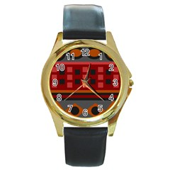 Red Aztec Round Gold Metal Watch by AnjaniArt