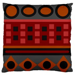 Red Aztec Large Flano Cushion Case (one Side) by AnjaniArt