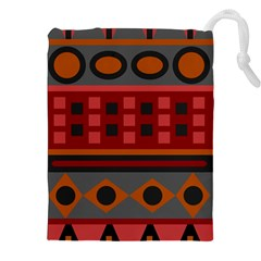 Red Aztec Drawstring Pouches (XXL) by AnjaniArt