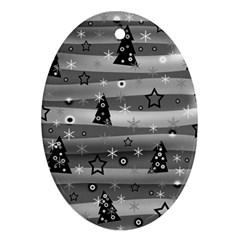 Gray Xmas Magic Ornament (oval)  by Valentinaart