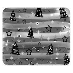 Gray Xmas Magic Double Sided Flano Blanket (small)  by Valentinaart