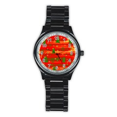 Xmas Magic Stainless Steel Round Watch by Valentinaart