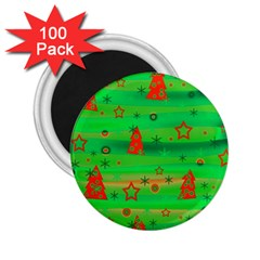 Green Xmas Magic 2 25  Magnets (100 Pack)  by Valentinaart