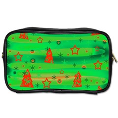 Green Xmas Magic Toiletries Bags by Valentinaart