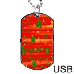 Christmas magic Dog Tag USB Flash (One Side) by Valentinaart