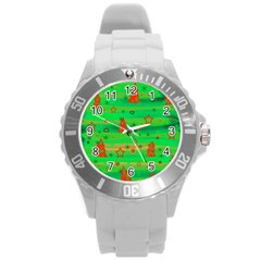 Xmas Magical Design Round Plastic Sport Watch (l) by Valentinaart