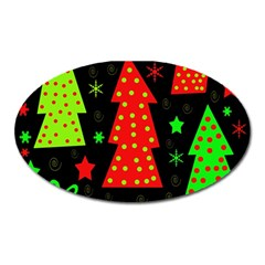 Merry Xmas Oval Magnet by Valentinaart