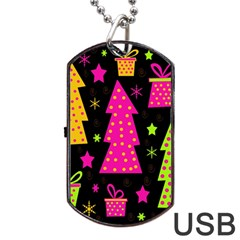 Colorful Xmas Dog Tag Usb Flash (one Side) by Valentinaart