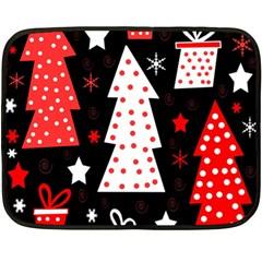 Red Playful Xmas Fleece Blanket (mini) by Valentinaart