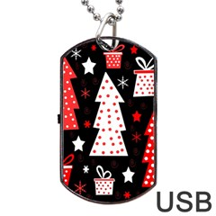 Red Playful Xmas Dog Tag Usb Flash (two Sides)  by Valentinaart