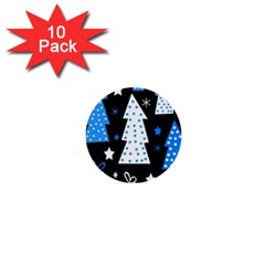 Blue Playful Xmas 1  Mini Buttons (10 Pack)  by Valentinaart