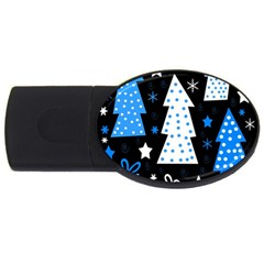 Blue Playful Xmas Usb Flash Drive Oval (2 Gb)  by Valentinaart