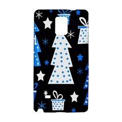 Blue Playful Xmas Samsung Galaxy Note 4 Hardshell Case by Valentinaart