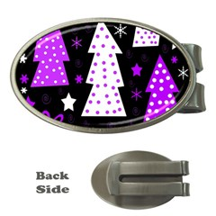 Purple Playful Xmas Money Clips (oval)  by Valentinaart