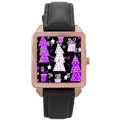 Purple Playful Xmas Rose Gold Leather Watch  by Valentinaart