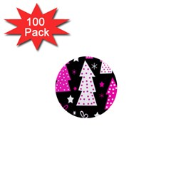 Pink playful Xmas 1  Mini Magnets (100 pack)