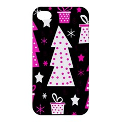 Pink Playful Xmas Apple Iphone 4/4s Hardshell Case by Valentinaart