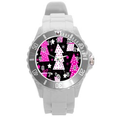 Pink Playful Xmas Round Plastic Sport Watch (l) by Valentinaart