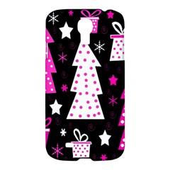 Pink Playful Xmas Samsung Galaxy S4 I9500/i9505 Hardshell Case by Valentinaart