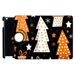 Orange Playful Xmas Apple Ipad 2 Flip 360 Case by Valentinaart