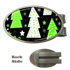 Green Playful Xmas Money Clips (oval)  by Valentinaart
