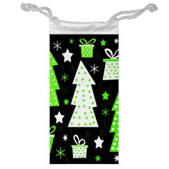 Green Playful Xmas Jewelry Bags by Valentinaart