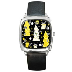 Yellow Playful Xmas Square Metal Watch by Valentinaart