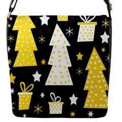 Yellow Playful Xmas Flap Messenger Bag (s) by Valentinaart