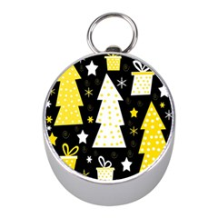 Yellow Playful Xmas Mini Silver Compasses by Valentinaart