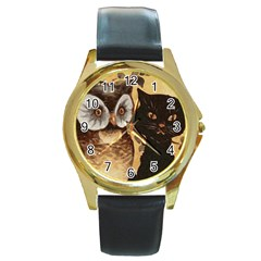 Owl And Black Cat Round Gold Metal Watch