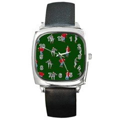 Drake Ugly Holiday Christmas 2 Square Metal Watch by Onesevenart