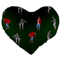 Drake Ugly Holiday Christmas 2 Large 19  Premium Heart Shape Cushions by Onesevenart