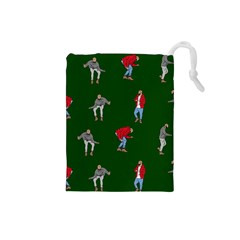 Drake Ugly Holiday Christmas 2 Drawstring Pouches (small)  by Onesevenart