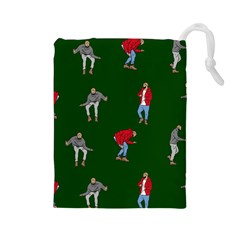 Drake Ugly Holiday Christmas 2 Drawstring Pouches (large)  by Onesevenart