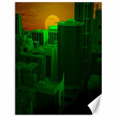 Green Building City Night Canvas 12  x 16   by Zeze