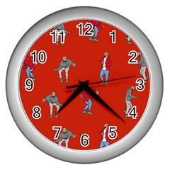Drake Ugly Holiday Christmas   Wall Clocks (silver)  by Onesevenart