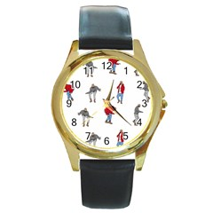 Drake Ugly Holiday Christmas Round Gold Metal Watch by Onesevenart