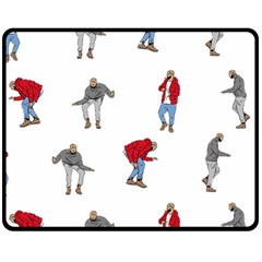 Drake Ugly Holiday Christmas Fleece Blanket (medium)  by Onesevenart
