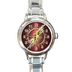 Flash Flashy Logo Round Italian Charm Watch by Onesevenart