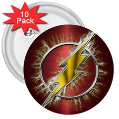 Flash Flashy Logo 3  Buttons (10 Pack)  by Onesevenart